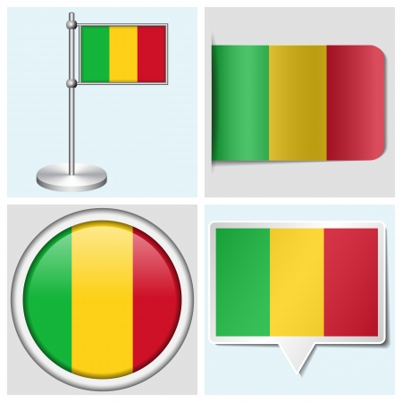 Mali flag - set of various sticker, button, label and flagstaff Illustration