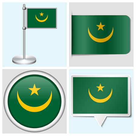Mauritania flag - set of various sticker, button, label and flagstaff
