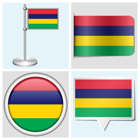 Mauritius flag - set of various sticker, button, label and flagstaff
