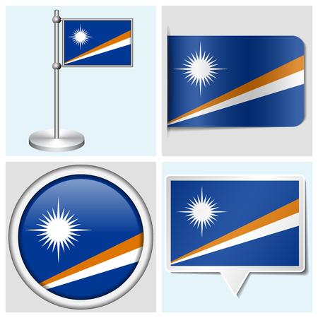 Marshall Islands flag - set of various sticker, button, label and flagstaff
