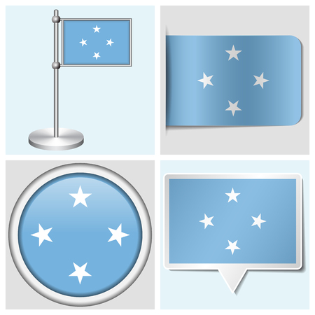 Micronesia flag - set of various sticker, button, label and flagstaff Illustration