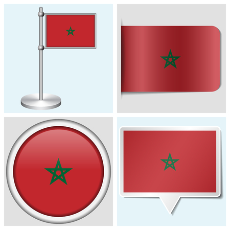 Morocco flag - set of various sticker, button, label and flagstaff