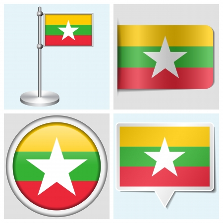 Myanmar flag - set of various sticker, button, label and flagstaff