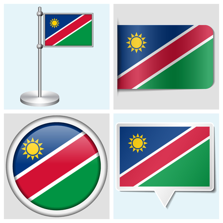 Namibia flag - set of various sticker, button, label and flagstaff Illustration