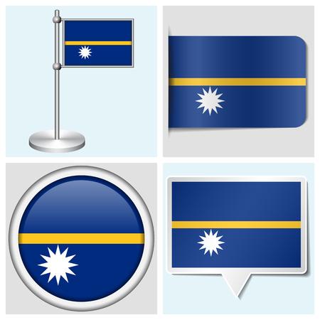 flagstaff: Nauru flag - set of various sticker, button, label and flagstaff