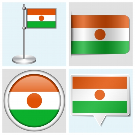 Niger flag - set of various sticker, button, label and flagstaff