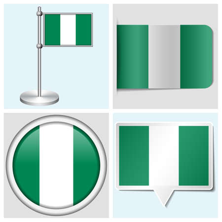 Nigeria flag - set of various sticker, button, label and flagstaff