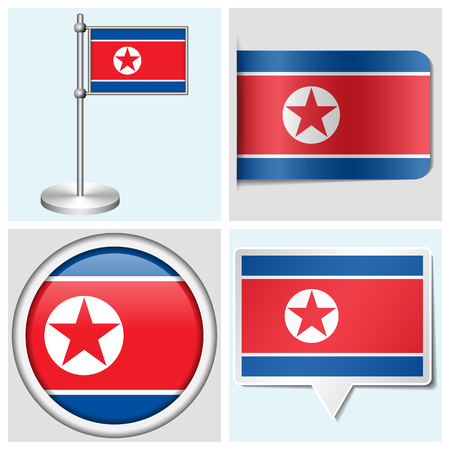 North Korea flag - set of various sticker, button, label and flagstaff