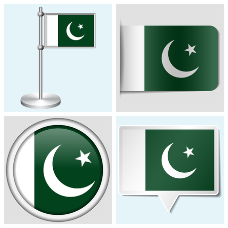 Pakistan flag - set of various sticker, button, label and flagstaff