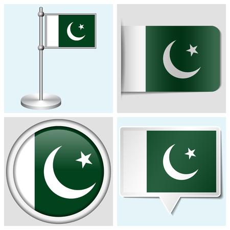 pakistan flag: Pakistan flag - set of various sticker, button, label and flagstaff
