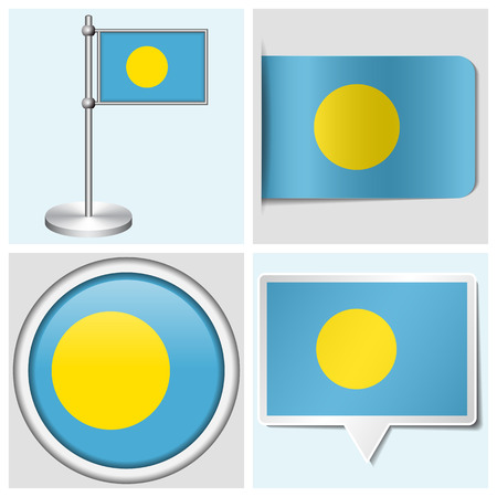 palau: Palau flag - set of various sticker, button, label and flagstaff Illustration