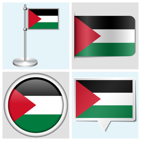 Palestine flag - set of various sticker, button, label and flagstaff
