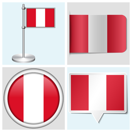 Peru flag - set of various sticker, button, label and flagstaff