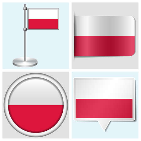 Poland flag - set of various sticker, button, label and flagstaff