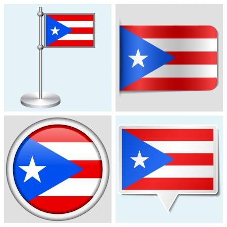 Puerto Rico flag - set of various sticker, button, label and flagstaff