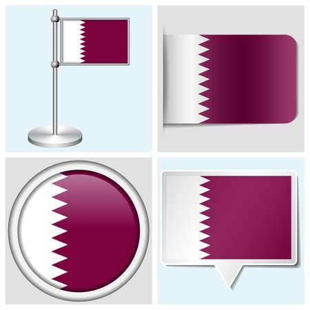 Qatar flag - set of various sticker, button, label and flagstaff Illustration