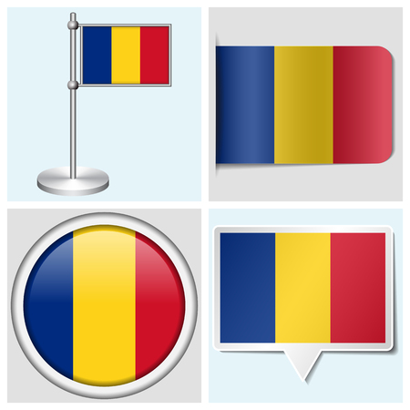 Romania flag - set of various sticker, button, label and flagstaff
