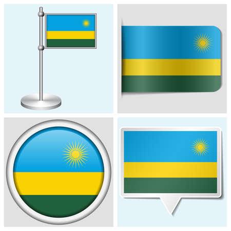 Rwanda flag - set of various sticker, button, label and flagstaff Illustration