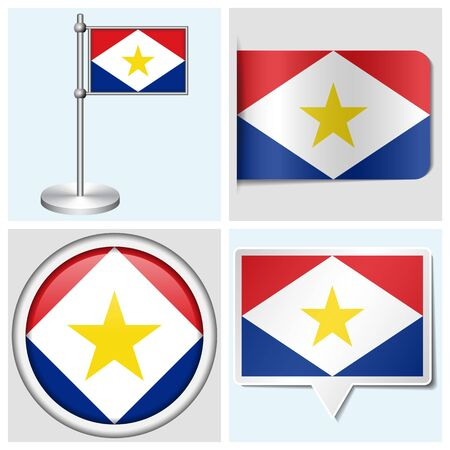 Saba flag - set of various sticker, button, label and flagstaff