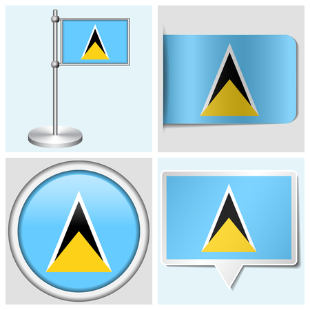 Saint Lucia flag - set of various sticker, button, label and flagstaff