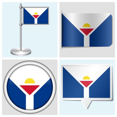 Saint Martin flag - set of various sticker, button, label and flagstaff