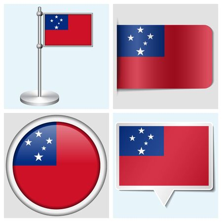 Samoa flag - set of various sticker, button, label and flagstaff