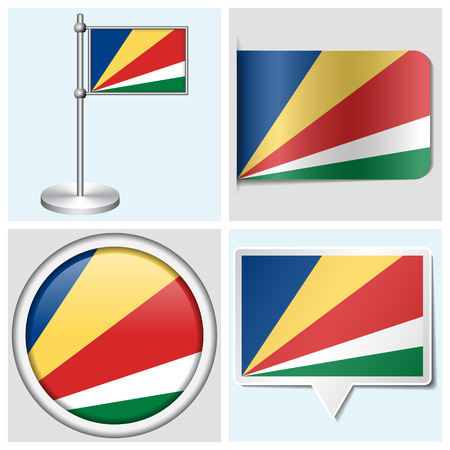 Seychelles flag - set of various sticker, button, label and flagstaff