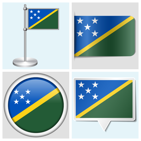 Solomon Islands flag - set of various sticker, button, label and flagstaff