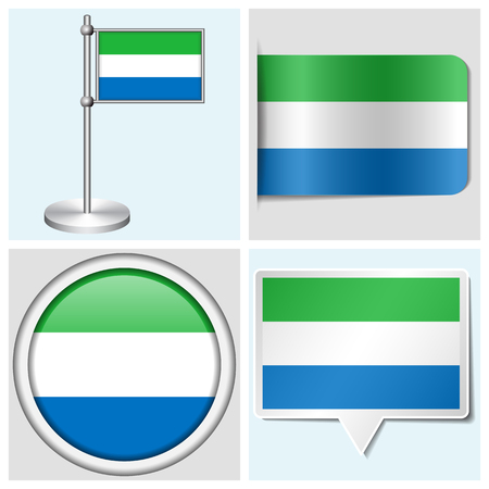 Sierra Leone flag - set of various sticker, button, label and flagstaff Illustration