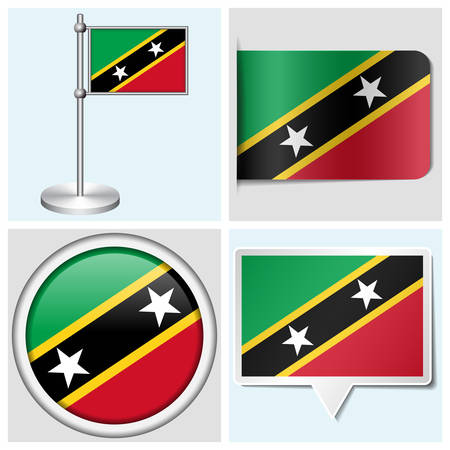 Saint Kitts and Nevis flag - set of various sticker, button, label and flagstaff Illustration