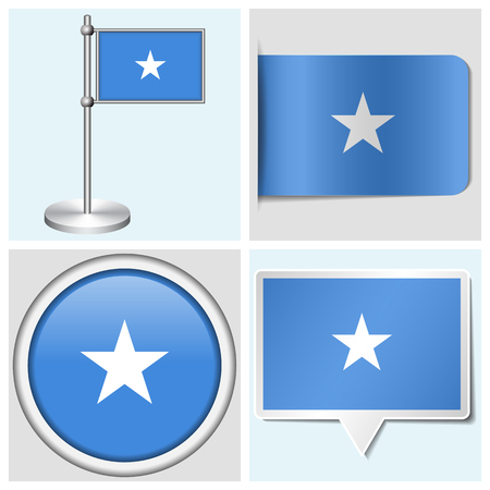 flagstaff: Somalia flag - set of various sticker, button, label and flagstaff