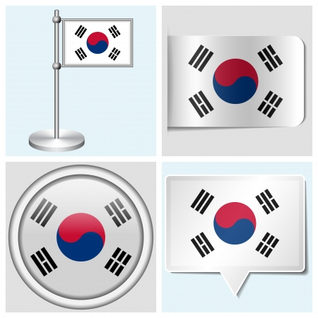 South Korea flag - set of various sticker, button, label and flagstaff