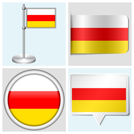 South Ossetia flag - set of various sticker, button, label and flagstaff