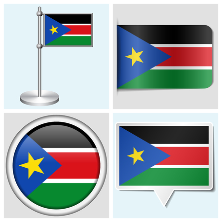 South Sudan flag - set of various sticker, button, label and flagstaff Illustration