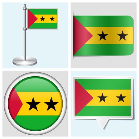 principe: Sao Tome and Principe bandera - juego de etiqueta diferentes, bot�n, etiqueta y asta Vectores