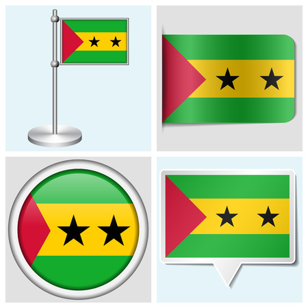 Sao Tome and Principe flag - set of various sticker, button, label and flagstaff