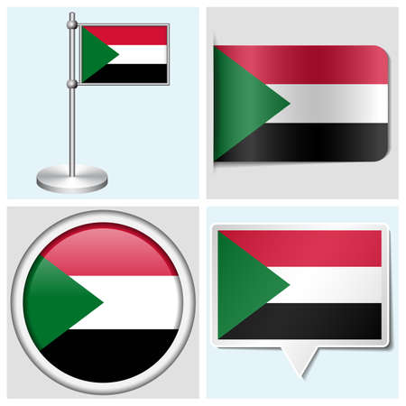 Sudan flag - set of various sticker, button, label and flagstaff