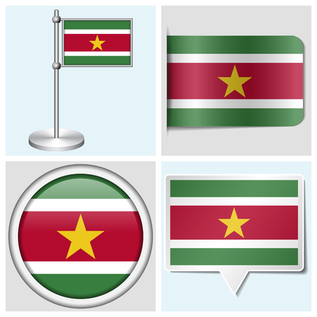 Suriname flag - set of various sticker, button, label and flagstaff
