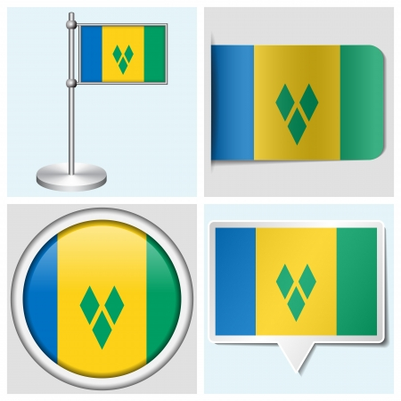 grenadines: Saint Vincent and the Grenadines flag - set of various sticker, button, label and flagstaff