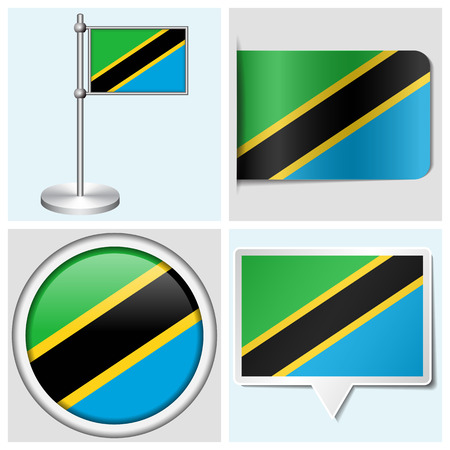 Tanzania flag - set of various sticker, button, label and flagstaff Stock Illustratie