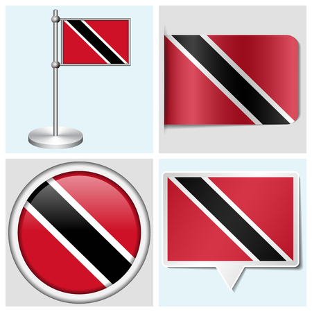 Trinidad and Tobago flag - set of various sticker, button, label and flagstaff