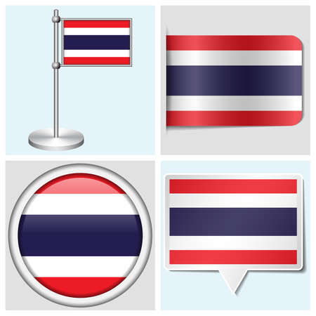 Thailand flag - set of various sticker, button, label and flagstaff Illustration
