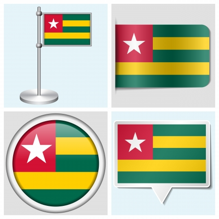 Togo flag - set of various sticker, button, label and flagstaff