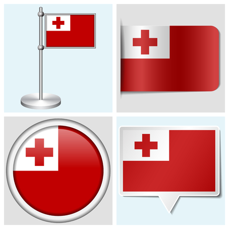 tonga: Tonga flag - set of various sticker, button, label and flagstaff