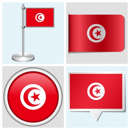 Tunisia flag - set of various sticker, button, label and flagstaff
