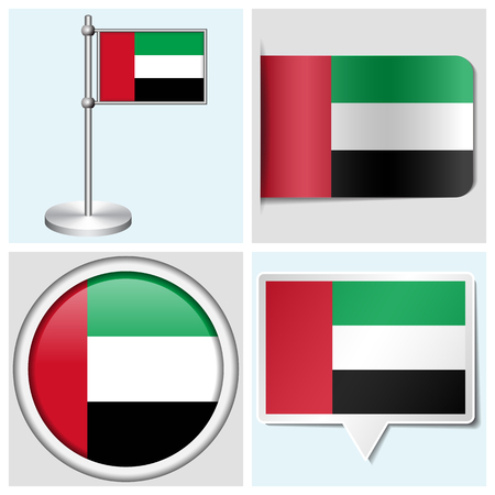 United Arab Emirates flag - set of various sticker, button, label and flagstaff