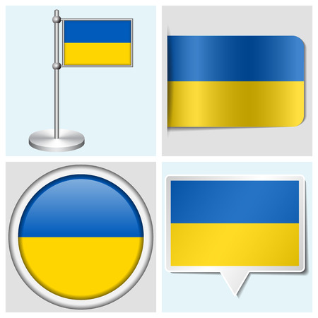 Ukraine flag - set of various sticker, button, label and flagstaff