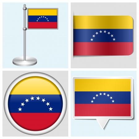 Venezuela flag - set of various sticker, button, label and flagstaff
