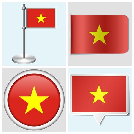 Vietnam flag - set of various sticker, button, label and flagstaff