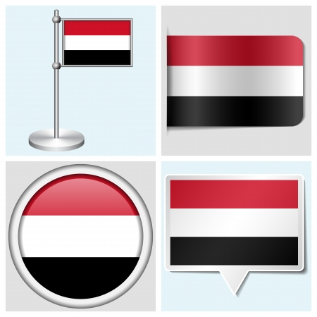 Yemen flag - set of various sticker, button, label and flagstaff Illustration